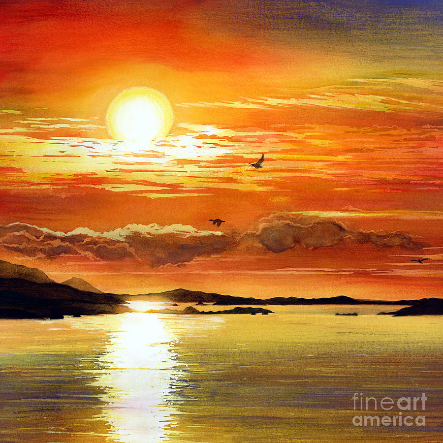 900x900 Sunset Lake Painting By Hailey E Herrera