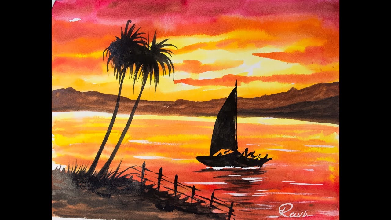 1280x720 Sunset Landscape Easy Watercolor Painting