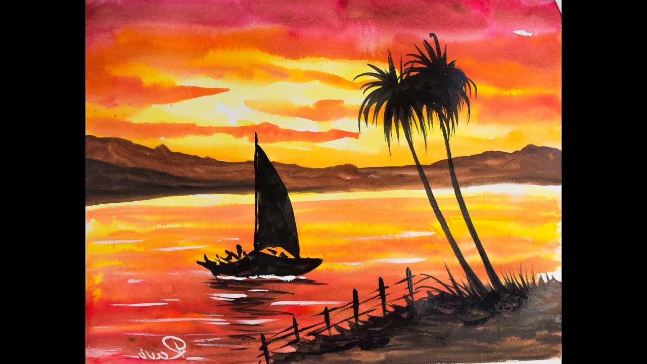 1280x720 Sunset Watercolor Paintings For Beginners Sunset Landscape Easy