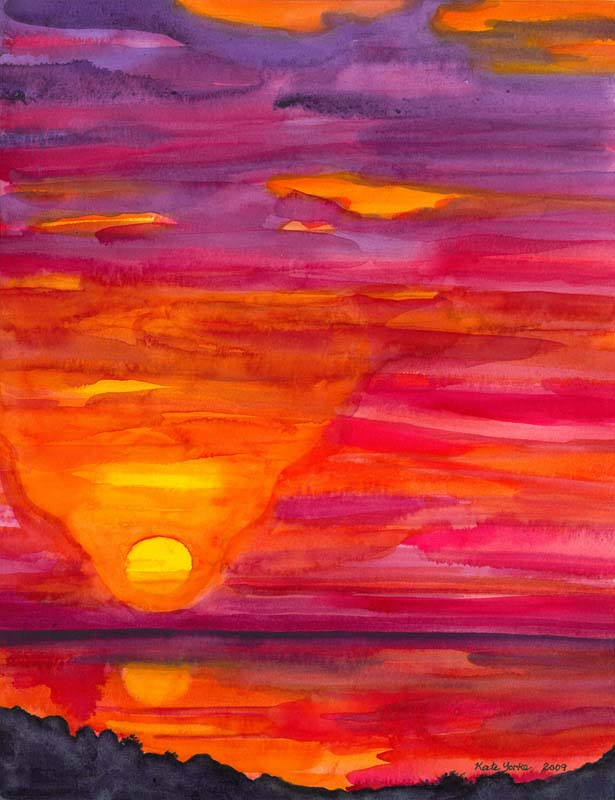 615x800 Sunset From Platanillo Painting Print Kate York