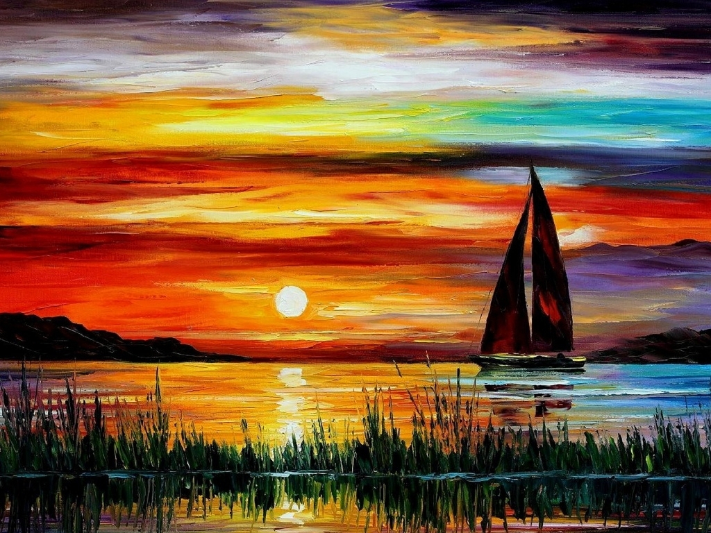 1024x768 Watercolor Paintings Of Sunsets Watercolor Paintings Of Sunsets