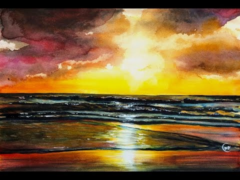 480x360 Watercolor Sunset By The Beach Painting Demonstration