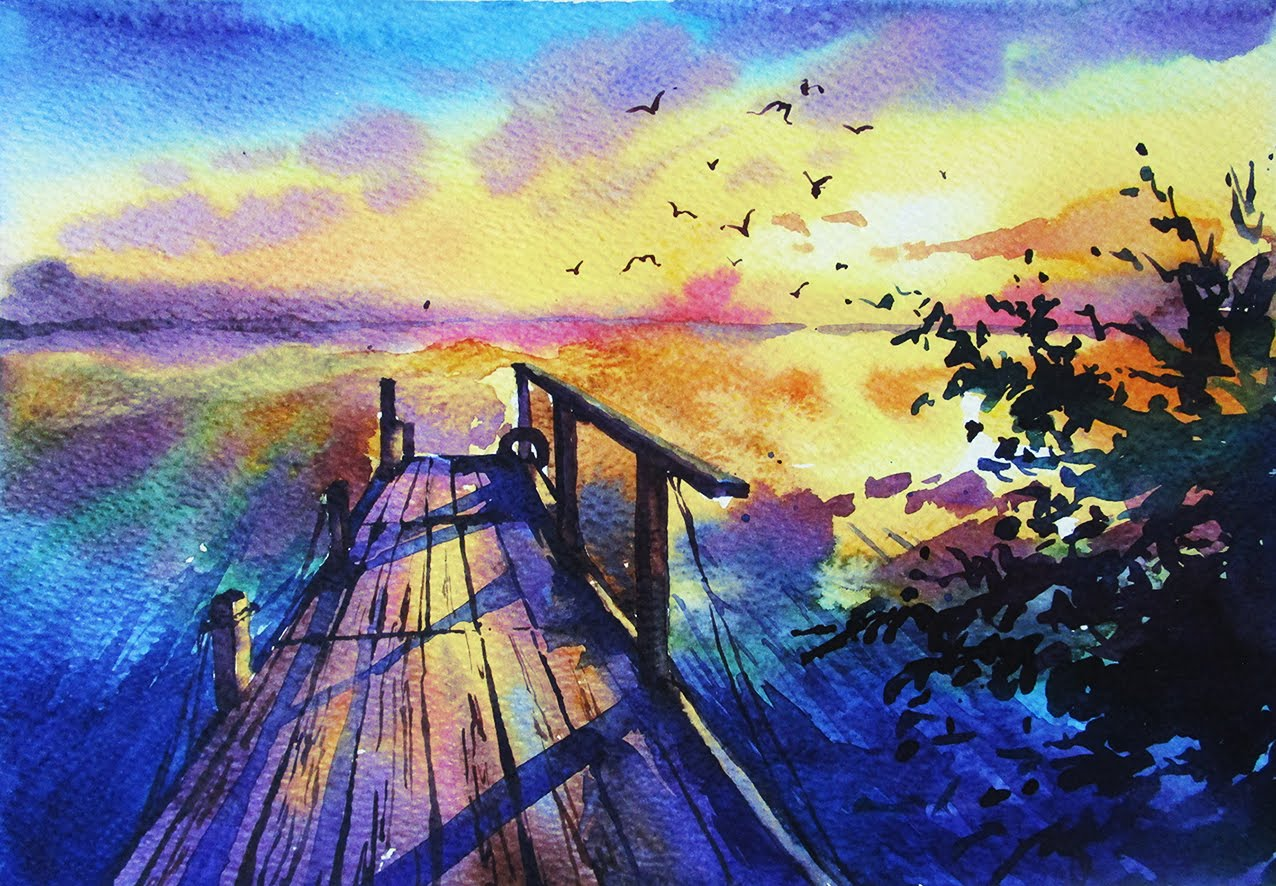 1276x886 Watercolor Painting Sunset