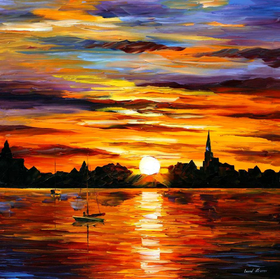 979x977 Corsica Sunset Palette Knife Oil Painting On Canvas By Leonid