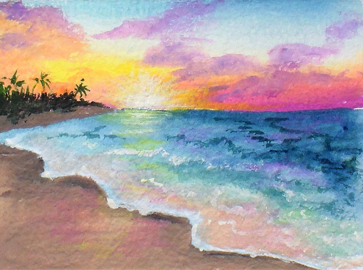 1159x862 Easy Sunset Painting Tutorial, Limited Palette, Diy Gouache! The