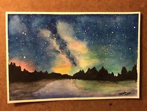 300x226 Galaxy Sunset 6x9 Original Watercolor Painting Ebay