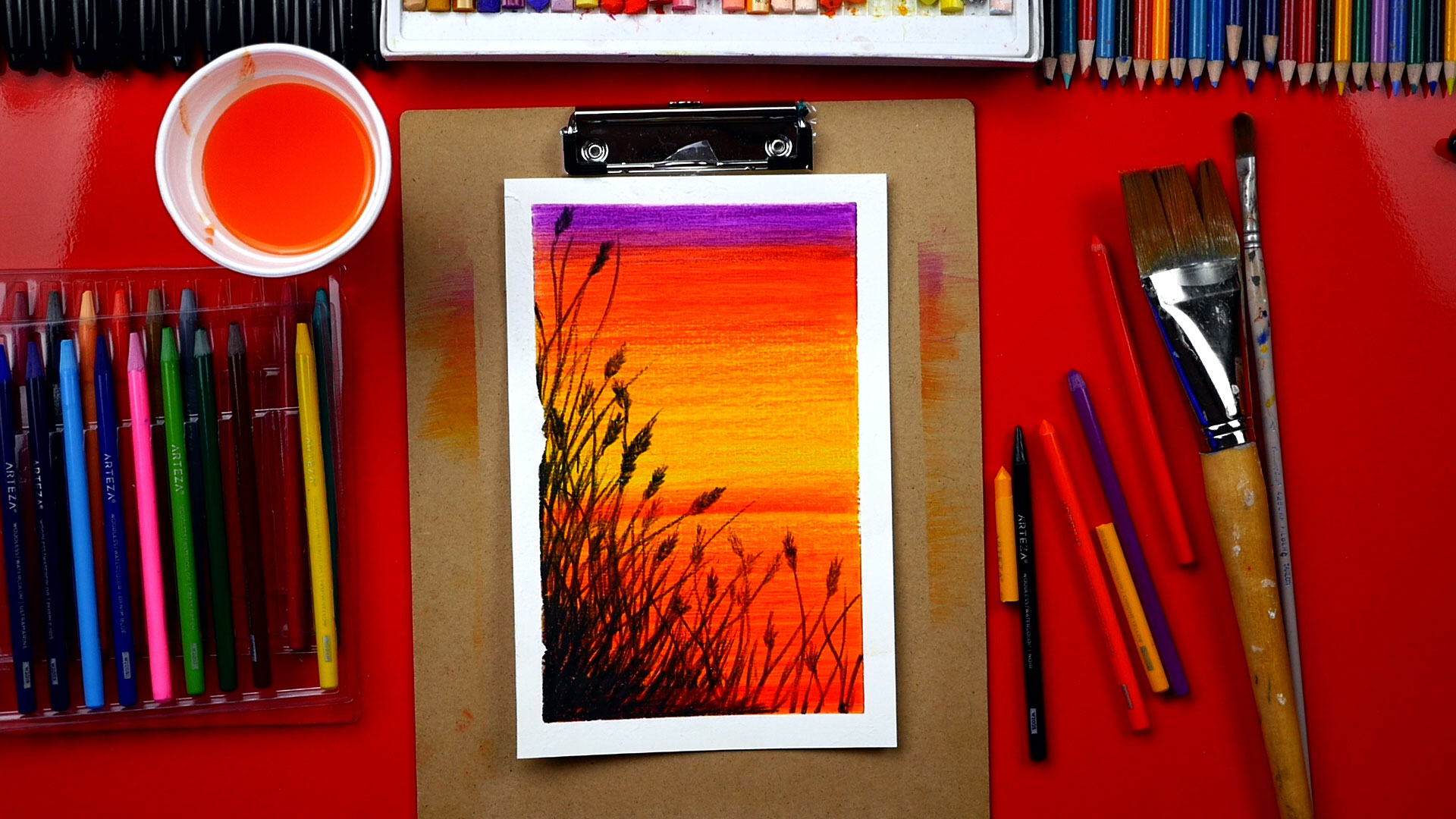 1920x1080 How To Use Watercolor Pencils To Paint A Beautiful Sunset