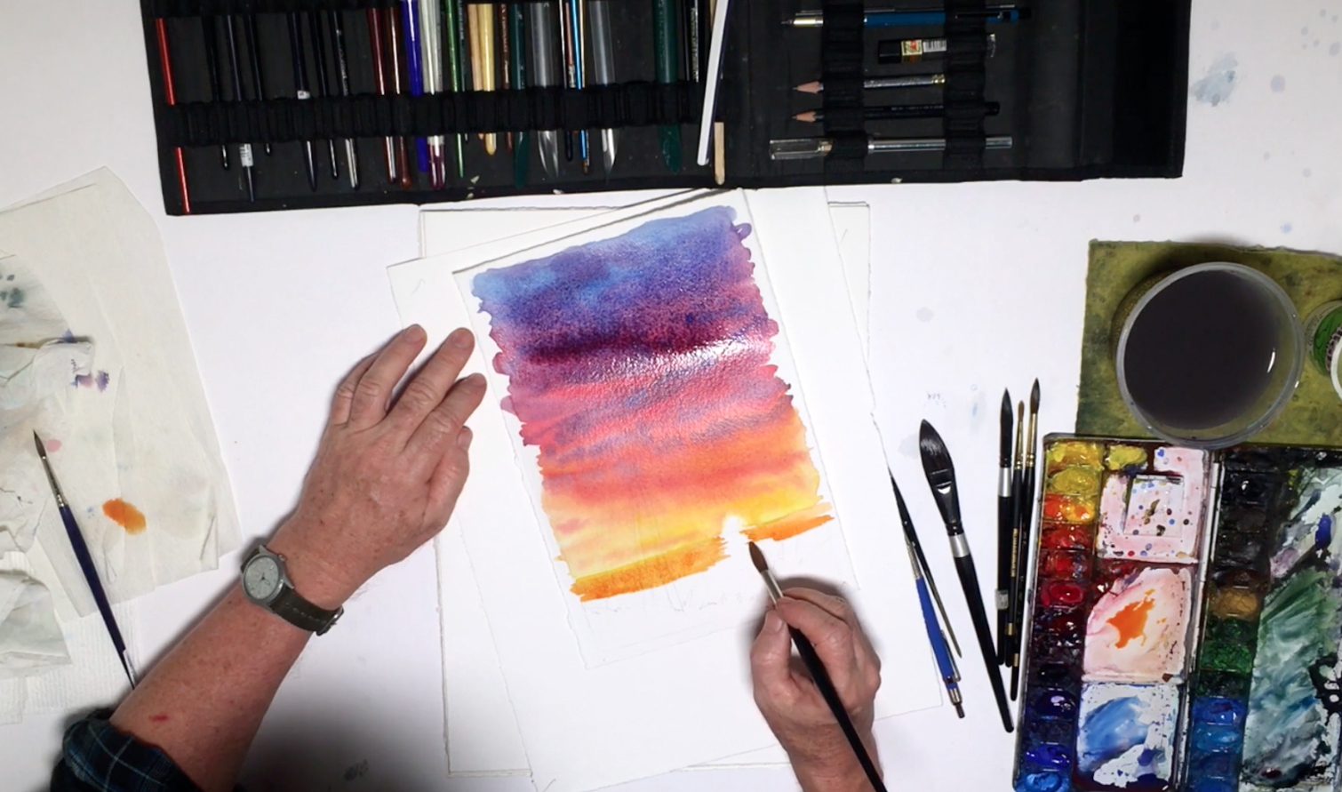 1510x891 How To Watercolor Paint A Sunset Sky With Silhouettes