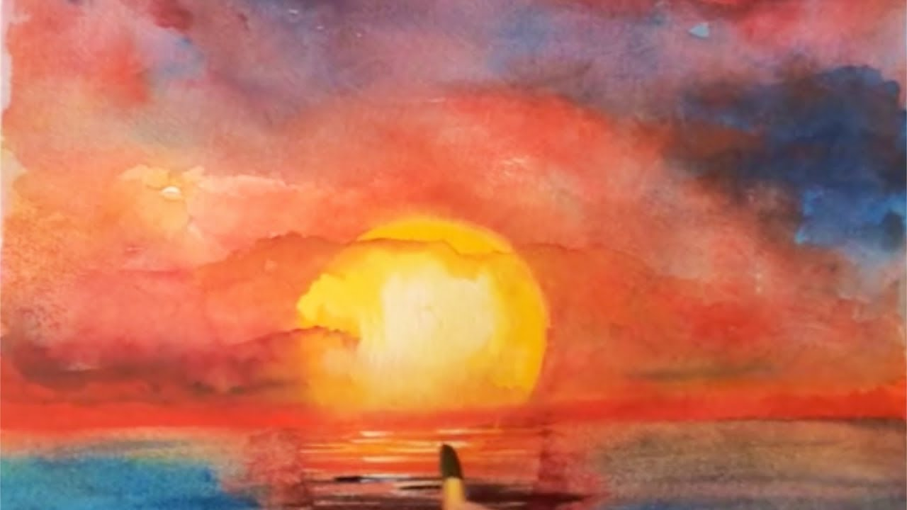 1280x720 Ocean Sunset Watercolor Tutorial, How To Paint Step By Step, Easy