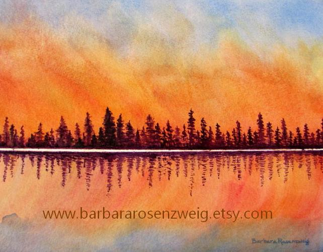 642x500 Original Art Sunset Painting Sunset Watercolor Abstract Etsy