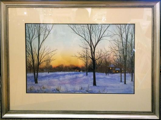 530x395 Winter Sunset Watercolor Painting Lake Effect Gallery