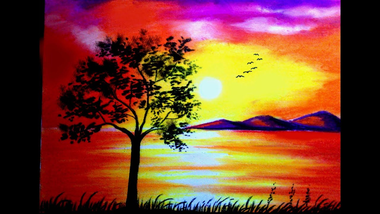 1280x720 Collection Of Easy Landscape Sunset Drawing High Quality