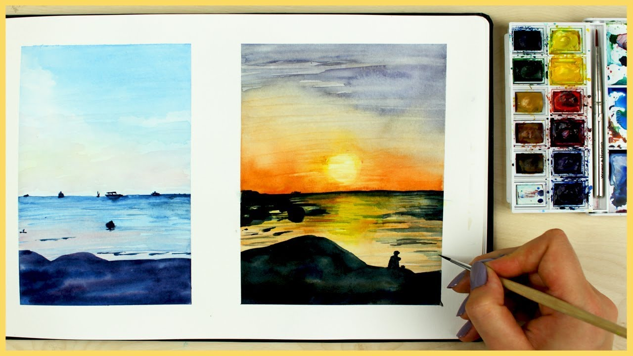 1280x720 How To Paint A Sunset With Watercolors For Beginners Art Journal
