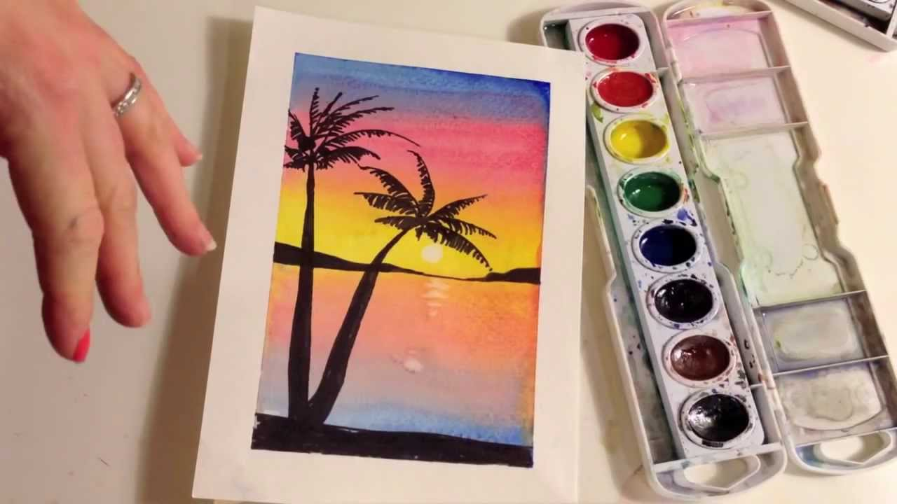 1280x720 How To Paint A Sunset With Palm Trees In Watercolor