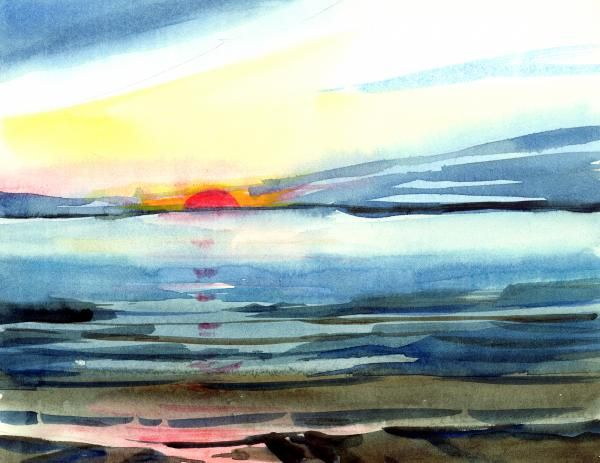 600x463 Sunset Art Watercolors Sunset, Watercolor And