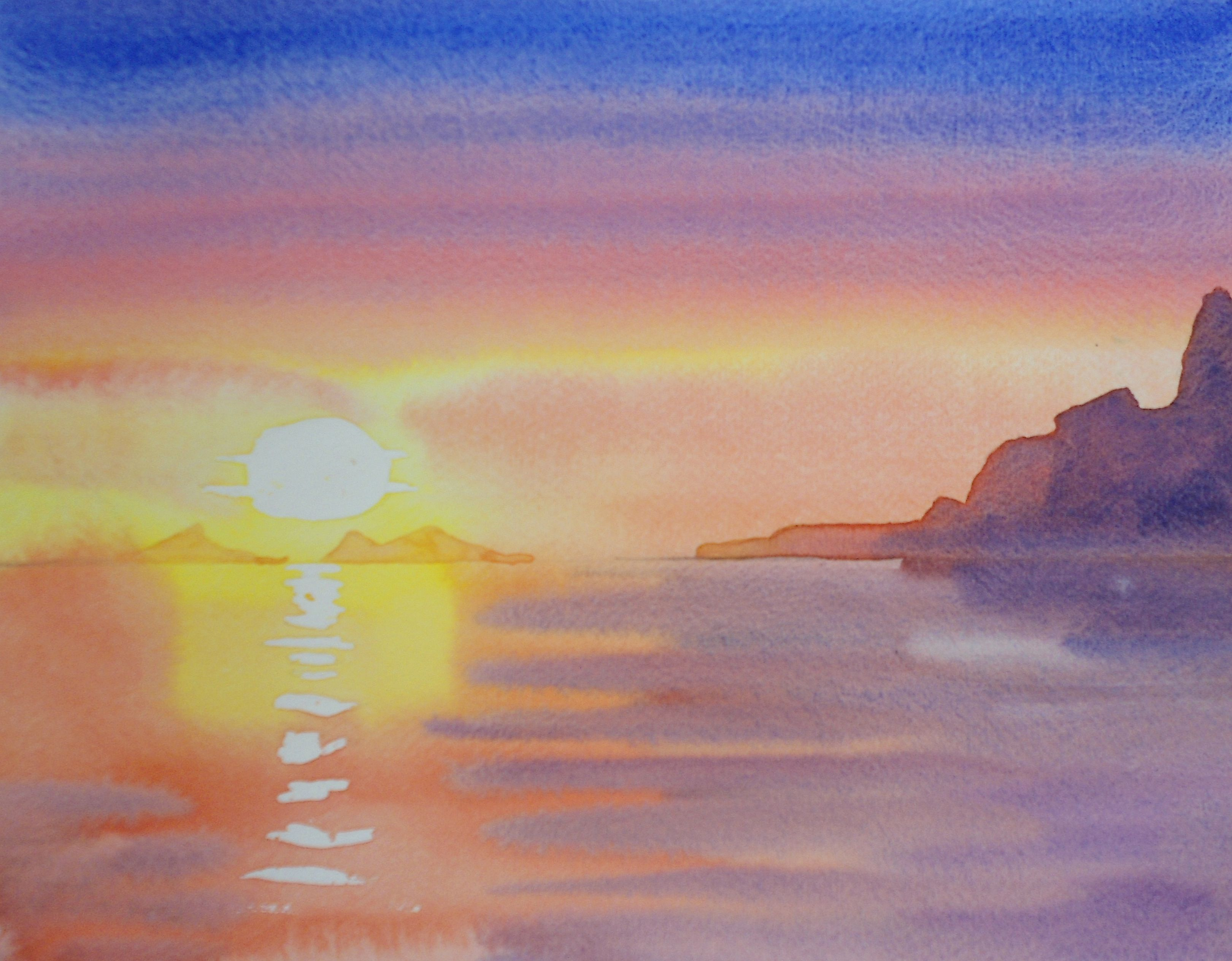3240x2527 Sunset Watercolor Video Lesson By Gilly Marklew Coming Soon To