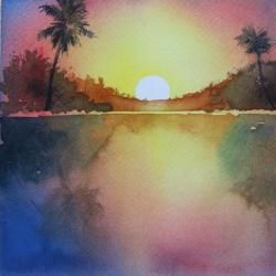 250x250 Watercolor Sunset Over Water