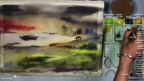 500x281 Watercolor Sunset Step By Step