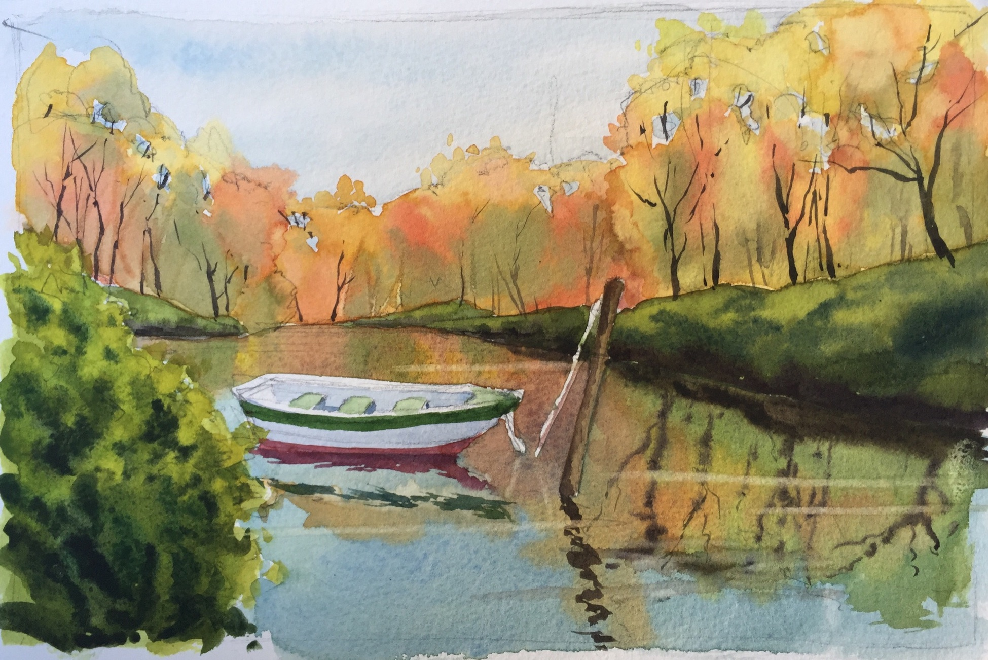 1949x1302 Fun Lake Scene Teaches Watercolor Techniques For Water Amp Reflections