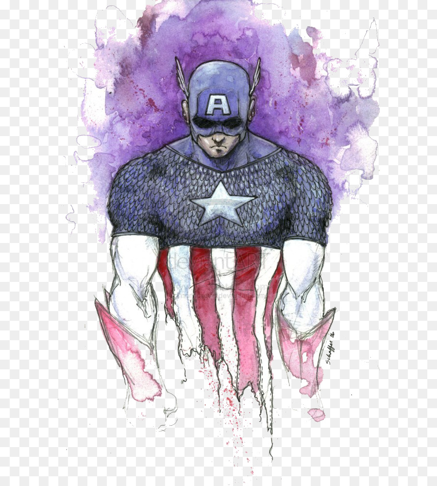 900x1000 Captain America Batman Watercolor Painting Art Superhero