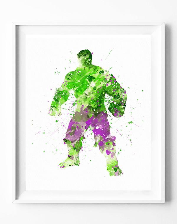 600x761 Hulk Art Print Avengers Poster Marvel Superhero Watercolor