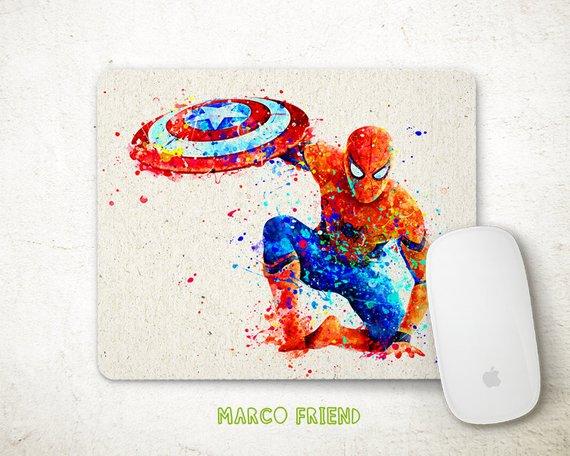 570x456 Spiderman Mouse Pad Captain America Superhero Watercolor Etsy