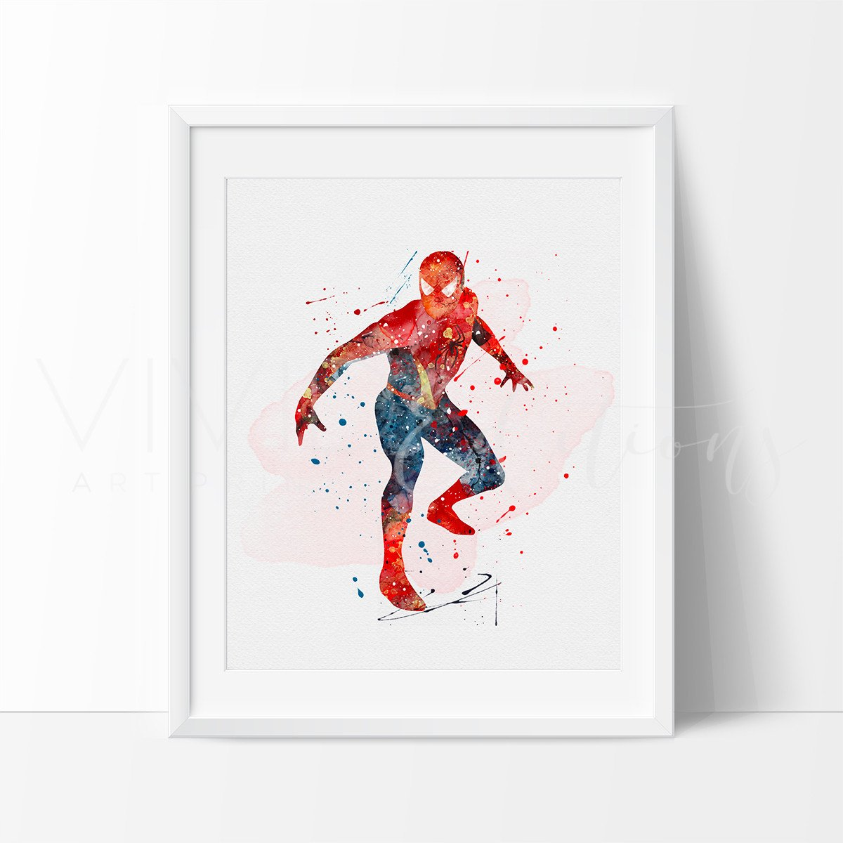 1200x1200 Spiderman Superhero Watercolor Nursery Art Print, Kids Wall Art