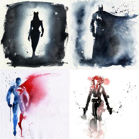 584x584 Superhero Watercolor Art Prints