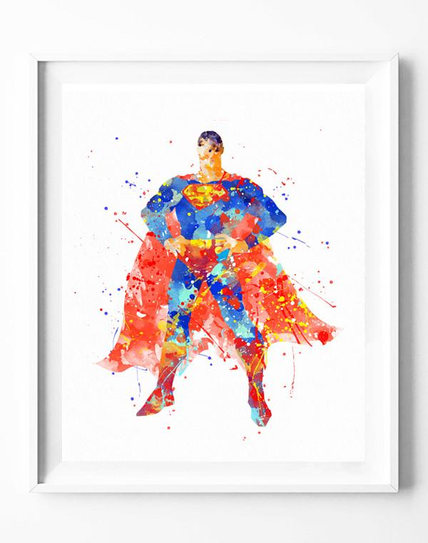 600x761 Superman Art Print Poster Superhero Watercolor Painting Wall Art