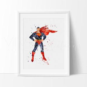 300x300 Superman Superhero Watercolor Nursery Art Print, Kids Wall Art