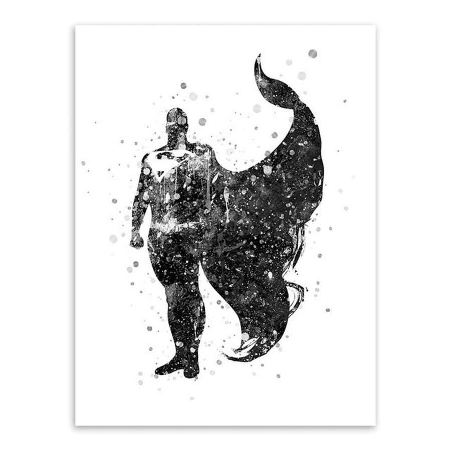 900x900 Watercolor Superhero Black White Wall Art Canvas Prints Painting