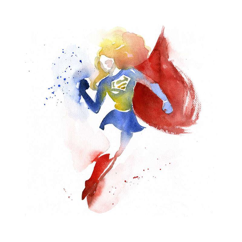 800x800 Artist Creates Gorgeous Superhero Watercolor Paintings