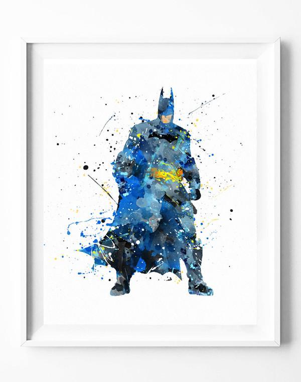 600x761 Batman Poster Art Print Superhero Watercolor Painting Wall Art