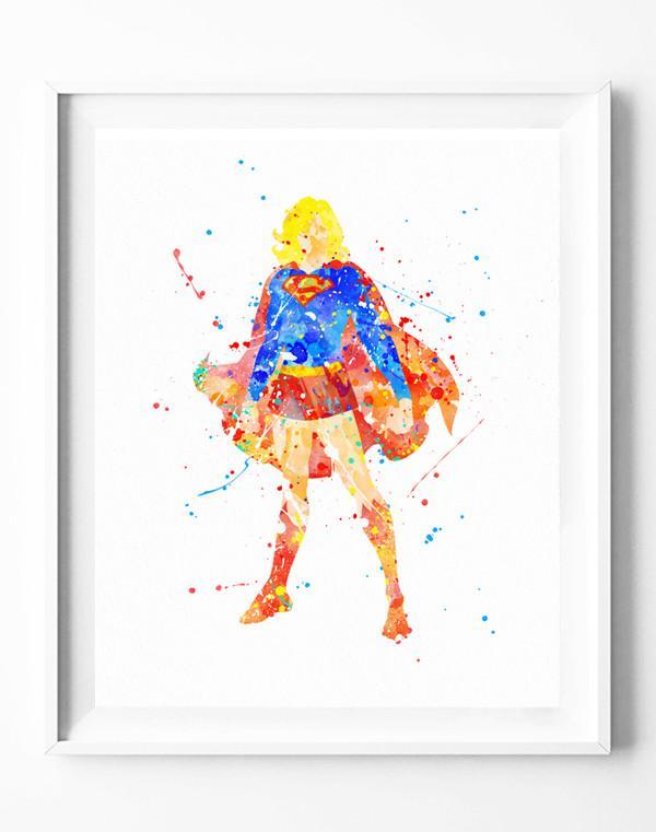 600x761 Supergirl Poster Art Print Superhero Superman Watercolor Painting