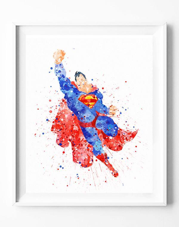 600x761 Superman Poster Dc Superhero Art Print Watercolor Painting Wall
