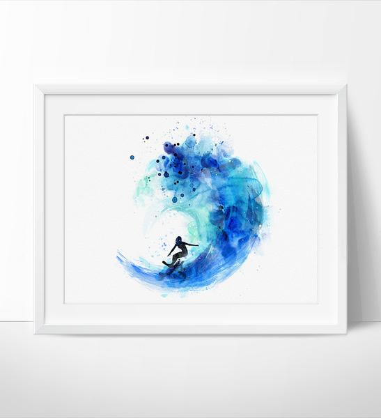 547x600 Surf Watercolor Art, Surf Print, Watercolor Painting, Watercolor