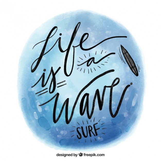 626x626 Watercolor Surf Quote Vector Free Download