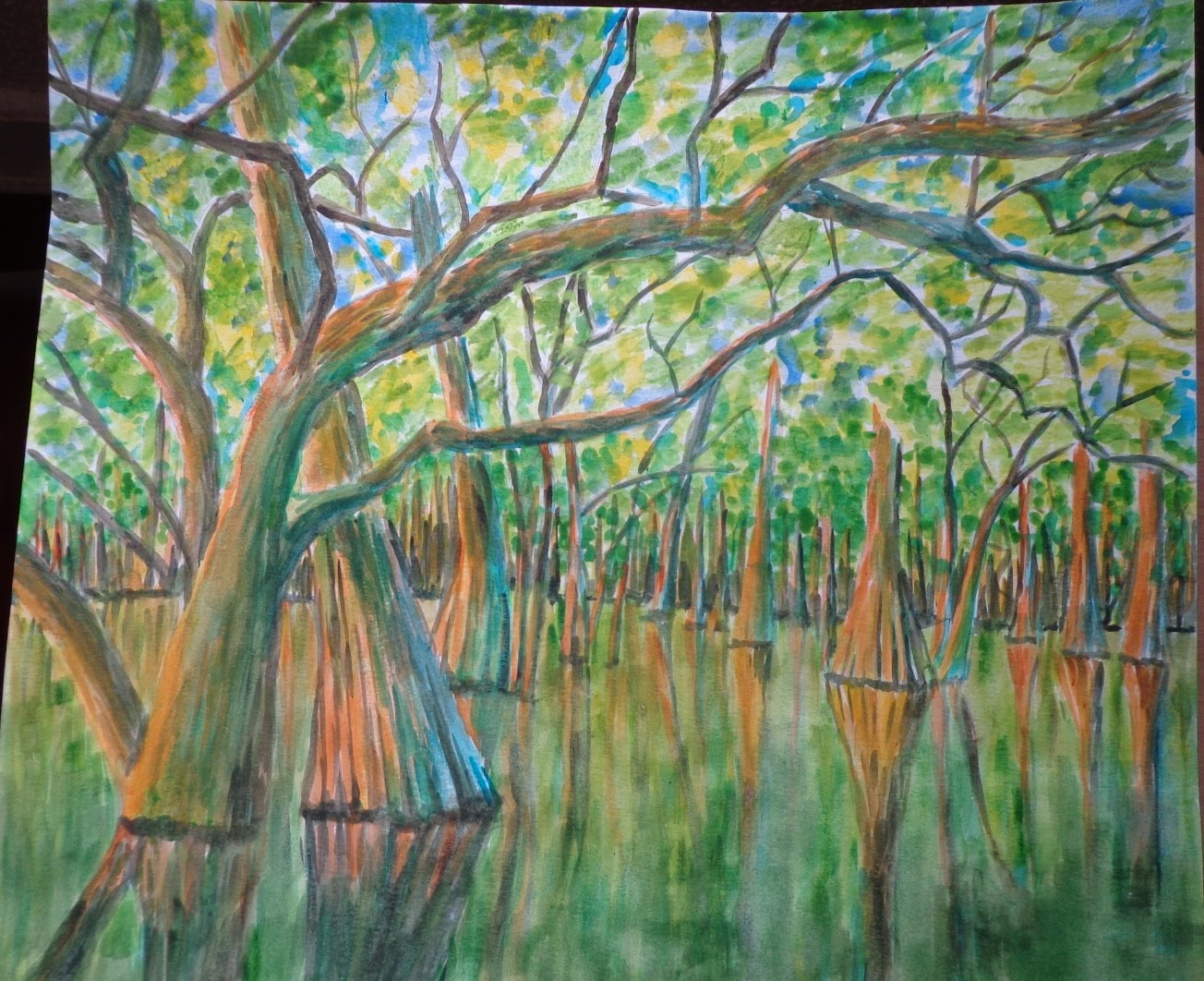1304x1062 Painting A Cypress Swamp In Watercolor