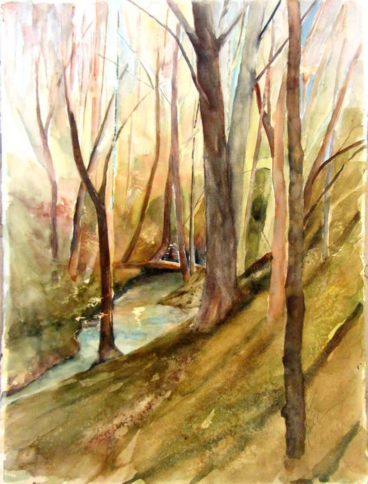 530x697 Ravine Original Watercolor Painting Lake Effect Gallery