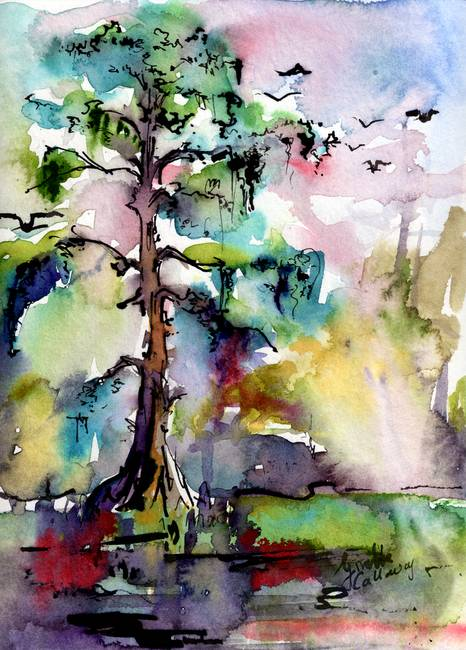 466x650 Tree 1 Swamp Cypress Spanish Moss By Ginette Callaway