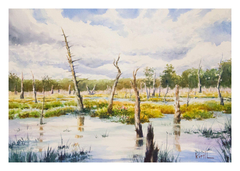 1500x1071 Woodland Swamp Painting Wawayanda State Park Watercolor Wall Etsy
