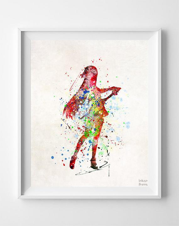 570x720 Asuna Print, Sword Art Online Poster, Watercolor Art, Manga Poster
