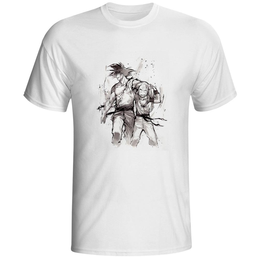 1000x1000 Eatge Hand Drawn Watercolor T Shirt Son Goku Kuririn Friendship T