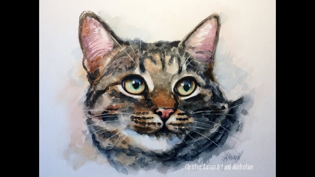 """Giclee Print  Tabby Cat  Watercolor Painting Art /""""Inky/"""" pet portrait"""