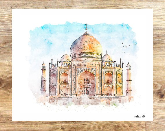 570x453 Taj Mahal City Art Watercolor Art Indian Art City Etsy