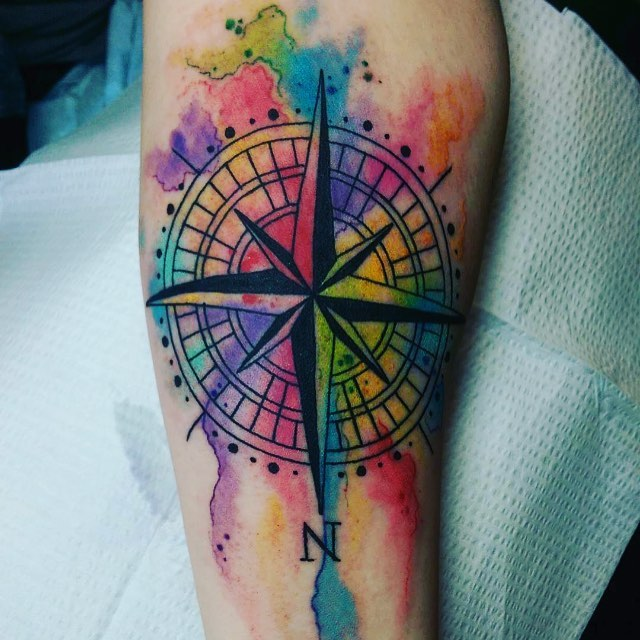 640x640 Bright Watercolor Compass Tattoo Venice Tattoo Art Designs