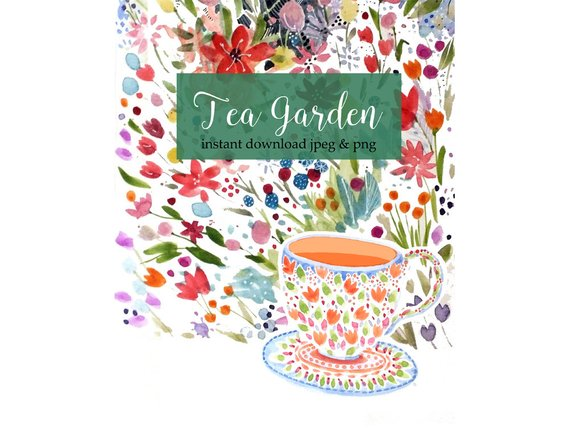 570x441 Teacup Watercolor Clip Art Garden Flowers Tea Garden Etsy