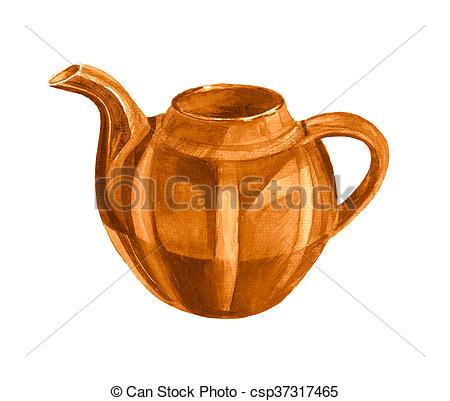 450x401 Brown Watercolor Teapot. Brown Teapot On White Background