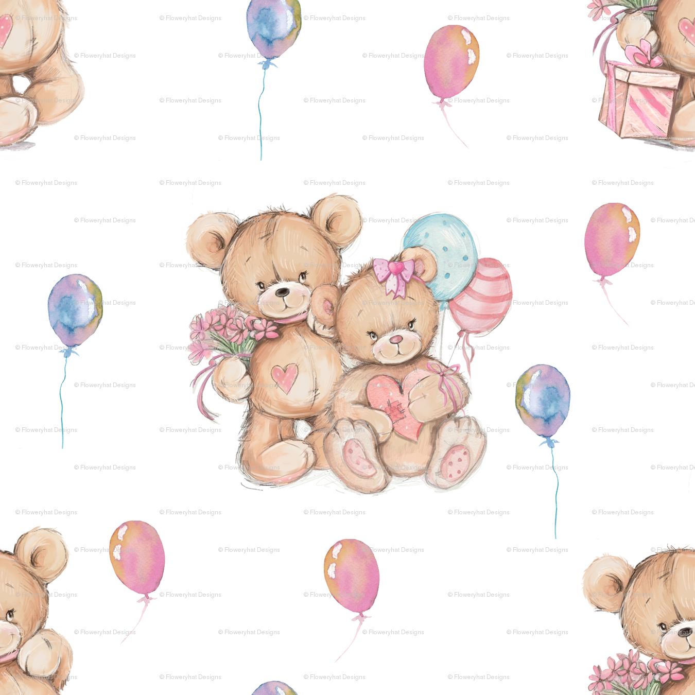 1350x1350 Large Watercolor Stuffed Teddy Bears Gift And Balloons On White