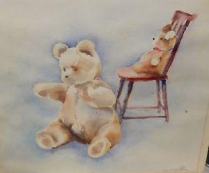 300x248 Leona D Crawford Teddy Bear In Chair Original Watercolor Painting